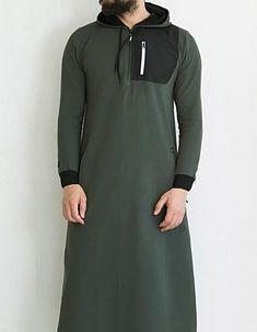 QL KamiHoodie Active Thobe Kameez with Long Sleeves in Khaki