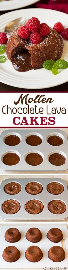 Molten Chocolate Lava Cakes - no mixer required and so easy to make! Deliciously decadent and perfect for any weekend or holiday. Loved these!!