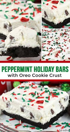 You definitely are going to want to add these Peppermint Holiday Bars with Oreo Cookie Crust to your Christmas Baking List this year. Yummy and easy to make peppermint, marshmallow and oreo bars. Delicious and festive - what a great combination. Mini Desserts, No Bake Desserts, Delicious Desserts, Dessert Recipes, Health Desserts, Dinner Recipes, Oreo Dessert, Dessert Bars, Pumpkin Dessert