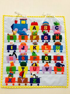 unique and interesting game for you and your baby. All items and letters are handmade of felt and cotton. 26 letters are attached to 26 pockets and should be associated with corresponding item and animal. Quiet Book Templates, Quiet Book Patterns, Diy Quiet Books, Felt Quiet Books, Crafts For Boys, Art For Kids, Abc Learning Games, Learning Numbers, Alphabet Book