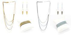 Boucles d'oreilles colliers et bracelets rangs, multi-chaines doré/noir et bleu/argent