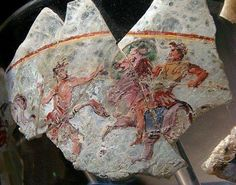Greek warriors in the ancient glass plate in Afghanistan excavation from the France archeological mission.