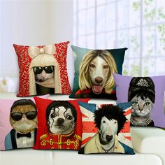 Animal Celebrity Spoof Portraits - Sofa Pillow Cushion Cover - Fun pet products at www.GlitterZoo.com