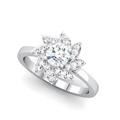 Brides: 64 Engagement Rings Under $5,000: Style 68796, 14k white gold and diamond engagement ring 5.20mm center stone 5/8cttw, $3,161, Stuller