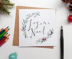 "Send Christmas greetings with this stylish Christmas carol inspired ""Joyeux Noel"" card! Merry Christmas Calligraphy, Merry Christmas Card, Noel Christmas, Christmas Greeting Cards, Christmas Greetings, Handmade Christmas, Holiday Cards, Corporate Christmas Cards, Christmas Writing"
