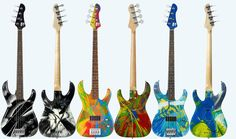 Limited edition bass guitars by FLEA (Red Hot Chilli Peppers) and Damien Hirst-I wish I could have gotten one of these, signed and everything..wowow!!!