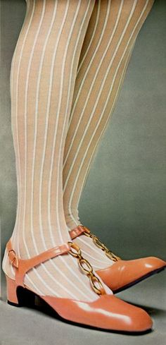 1960s stockings and shoes. Mod Style from sixties, gold metallic element and pink salmon leather.