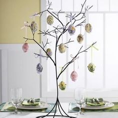Making an Easter Egg Tree is fun and easy and also makes a great Easter Craft for the kids. Making your own Easter Egg Tree allows you the creativity. Easter Tree, Easter Eggs, Tree Centerpieces, Table Decorations, Fashion Bubbles, Egg Tree, Auction Projects, Metal Tree, Easter Crafts
