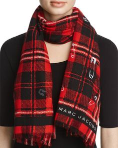 """Marc Jacobs Plaid Safety Pin Stole Scarf 