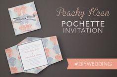 DIY peach & gray wedding invitation pochette   Download & Print
