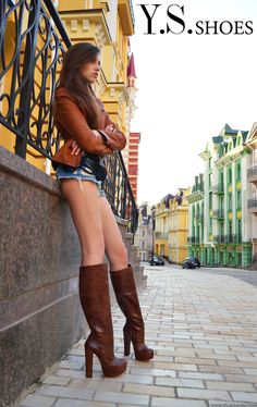 Python boots with chunky heels