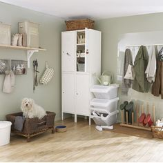 To get this Fresh + Clean look, use YOLO Colorhouse LEAF .03 hallway storage, boot, util room, mud rooms, laundry rooms, room storage, dog, storage ideas, utility rooms