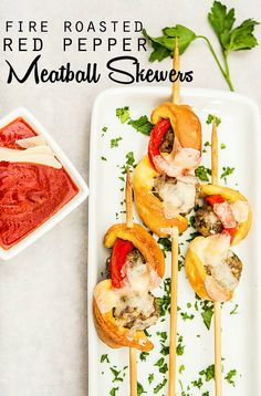 Fire Roasted Red Pepper Meatball Skewers recipe - perfect for entertaining and kids! #NewTradish