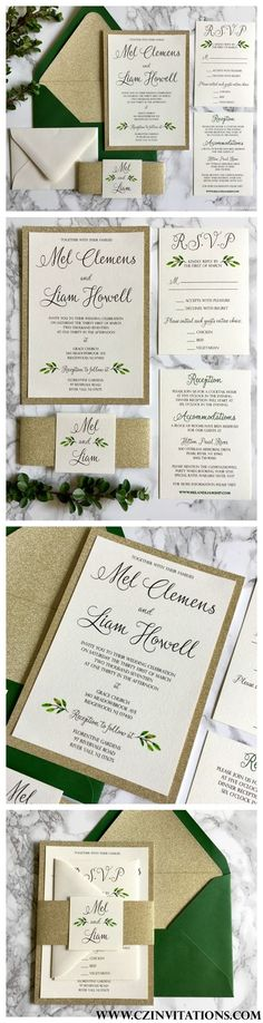 The 2017 trend for wedding invitations is Greenery. We LOVE this simple gold glitter and greenery wedding invitation with watercolor leaves throughout. Subscribe to see more greenery and other designs at www.czinvitations.com