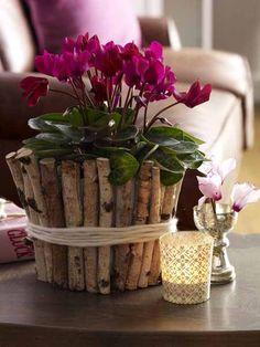 Blütenstar! Mit Alpenveilchen zieht Hüttenromantik ein. Und wo kann man den süßen Blumentopf kaufen? Gar nicht, der ist schnell selbst gemacht: ein Gummiband locker um den Übertopf spannen und damit Birkenäste (Bastelladen) rundum fixieren. Dann mehrmals mit dicker Wolle umwickeln, damit man das Gummiband nicht mehr sieht.