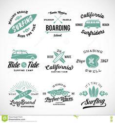 Vector Retro Style Surf rótulos, logotipos ou t-shirt Design Gráfico Surfboards…