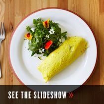 The perfect omelet. Adding the cold butter pieces creates a layered effect