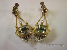 Antique 18kt Gold and Reverse-painted Crystal Fishbowl Earpendants