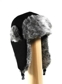 c6e6b33ca61 Extra Thick Super Soft Wool Trooper Trapper Pilot aviator Hat with Soft  Faux Fur for Women and Mens one size fits up to large head in Black and Grey