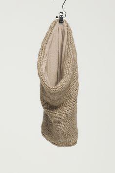 Humanoid | Cowl knitwear | 60% virgin wool 40% acrylic /   jersey details | 80% cotton 20% angora
