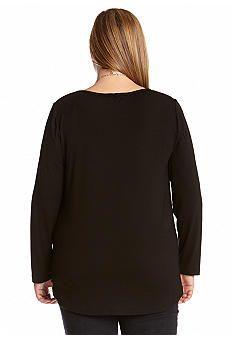 Karen Kane Plus Size Black Tie Front Top | Belk #Plus_Size #Black #Tie #Front #Top #Plus #Size #Womens #Fashion #KarenKane #Plus_Size_Fashion #Belk