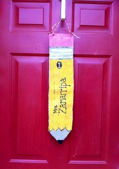 Personalized Burlap Door Hanger Crayon  Teacher by GiftsbyGaby, $20.00
