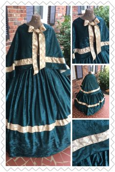 Green Panne Civil War Dress Cape set.  http://www.cumberlandriversutlery.com/rich-green-panne-civil-war-cape-set-wgold-2-piece2.html