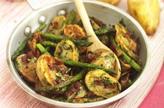 Pan fried Jerseys with asparagus and pancetta