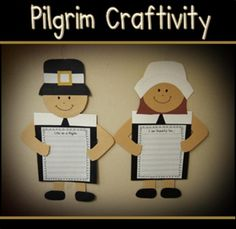 """Student's will love publishing their Thanksgiving writing with this fun pilgrim craftivity. Your kids will love that their pilgrim's """"hold"""" the writing and it makes a great bulletin board for displaying their work."""