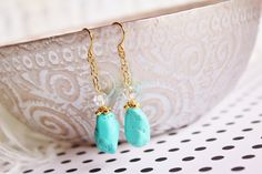 Dangle Earrings. Clear Crystal. Gold Chain. Sparkle. Sky Blue. Edgy and Feminine!! by JennyMoralesJewelry on Etsy