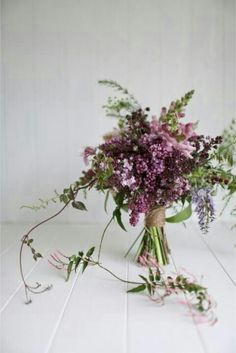 Rustic Hand Tied Wedding Bouquet With: Lilacs, Pink Snapdragons, Lavender Florals & Greenery/Foliage