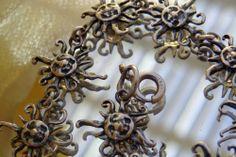 SOLD VTG SGD 925 Sterling Silver SUN GOD Bracelet Figural Link MEXICO? JEWELRY
