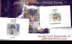 Japanese verbs - Utaimasu and iimasu.. Study more flashcards at JapaneseMEOW.com