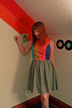 Sunrise Panel Colorblock Dress  with Pockets by ManicPop on Etsy, $95.00