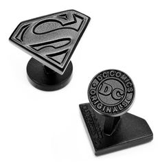 Satin Black Superman Shield Cufflinks by Cufflinksman.com