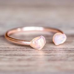 Raw Opal Ring Rose Gold Plated and Raw Opal Ring **Handmade in Portugal, Spain. Available in our 'Mermaid' and 'Earthly Treasures' Collections