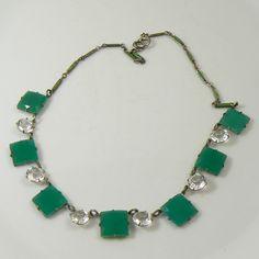 Vintage Art Deco Jade-Green Glass/Crystal Rhinestone Necklace. Unique vintage, antique costume, estate jewelry
