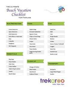 A printable Beach Vacation Checklist - perfect for planning a trip or vacation to the beach with kids! Trekaroo.com/blog