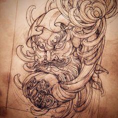 Daruma.  #tattoo #art #tattooart #tattooartist #tattooworkers #tattooartistmag #newschooltattoo #japanesetattoo #daruma #darumatattoo #sketch