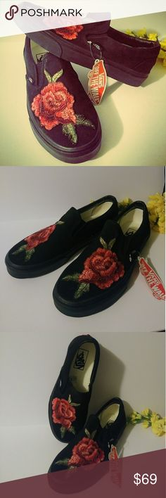 VANS: all black slip-ons w/ embroidered floral/🌹 Vans- all black classic slip-ons customized with embroidered floral/rose 🌹 design. Unisex M7 W8.5.  New with tags.   *stay tuned for more customized kicks! *requests welcome *prices always REASONABLE Vans Shoes Sneakers