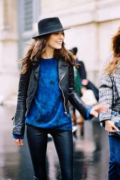 Shop this look on Lookastic:  http://lookastic.com/women/looks/navy-hat-blue-oversized-sweater-black-biker-jacket-black-skinny-pants/10550  — Navy Wool Hat  — Blue Oversized Sweater  — Black Leather Biker Jacket  — Black Leather Skinny Pants