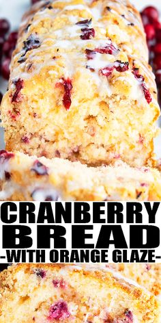 CRANBERRY BREAD RECIPE- Easy cranberry orange bread with orange glaze, homemade with simple ingredients. Loaded with fresh cranberries, oranges, butter. Soft, moist but still firm. Perfect for breakfast, brunch or dessert during Christmas holidays or even Thanksgiving. Can also add banana, pumpkin, apples, nuts, From CakeWhiz.com #bread #dessert #cranberries #christmas #thanksgiving #brunch Recipes With Yeast, Easy Bread Recipes, Pastry Recipes, Best Dessert Recipes, Keto Desserts, Sweet Recipes, Baking Recipes, Holiday Baking, Christmas Baking