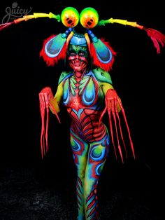 """NEVER HIGH-FIVE A MANTIS SHRIMP"" - 1st Place Winner - Brush & Sponge Body Painting category Melbourne Body Art Xpo 2013  