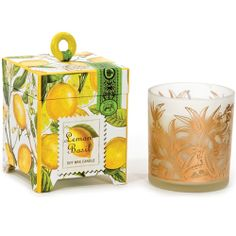 Lemon Basil 6.5 oz. Candle Scent: Fresh lemon and basil A handmade, all-natural fragranced candle made of 100% soy wax which is a renewable resource that is non-toxic, biodegradable and burns cleanly. Comes in a printed glass container packaged in a footed box. Burn time: Over 40 hours