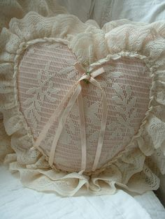 Pink Lace Heart Pillow by LivingRomantic on Etsy, $10.00