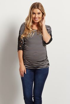 Your favorite striped print and pretty crochet detail in one flawless maternity top. This gorgeous top will show off your growing baby bump from week to week with ruched sides while still keeping you comfortable in a soft material. Wear this fitted maternity top with maternity jeans and flats for a simply feminine look.