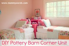 DIY Pottery Barn Corner Unit.  Great for shared rooms!