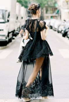 Black sheer dress + veil