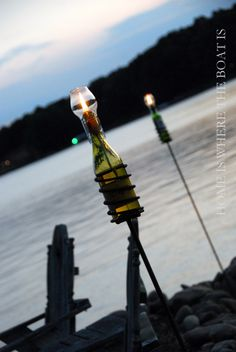 wine bottle torch with citronella and glass chimney~