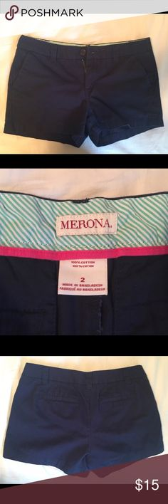 Navy Merona Shorts in Great Condition! Size 2 Navy shorts from Target. 100% cotton. Have been worn a maximum of 3 times so they are in great condition! As always, from a smoke free home. Please make an offer. Thanks for looking! Kaitlin Merona Shorts